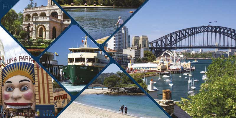 Collage of pictures of Sydney region including Harbour Bridge, Luna Park and Balmoral Beach