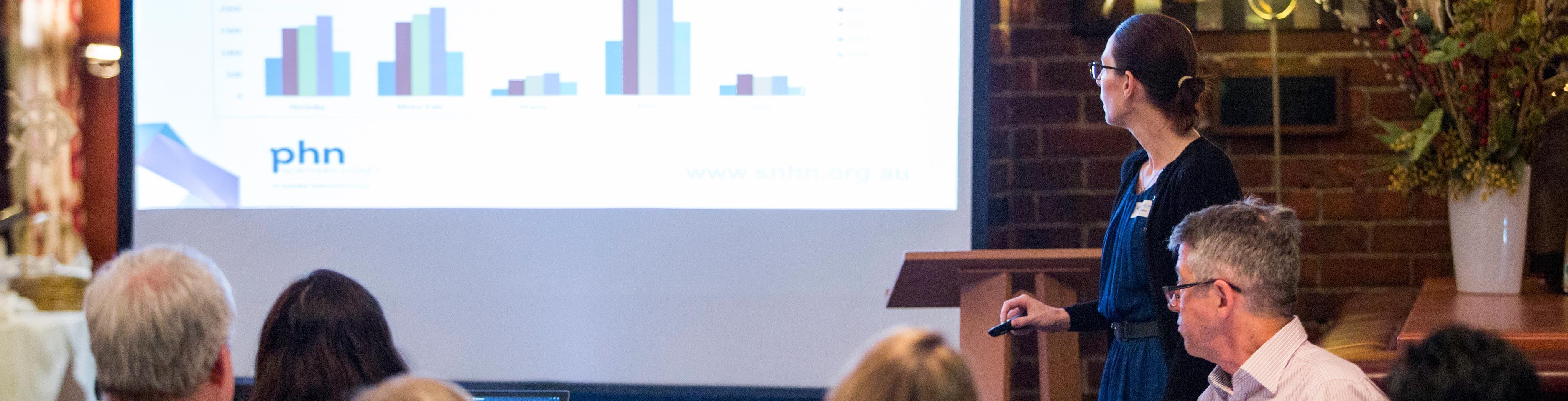 A presentation at a PHN event