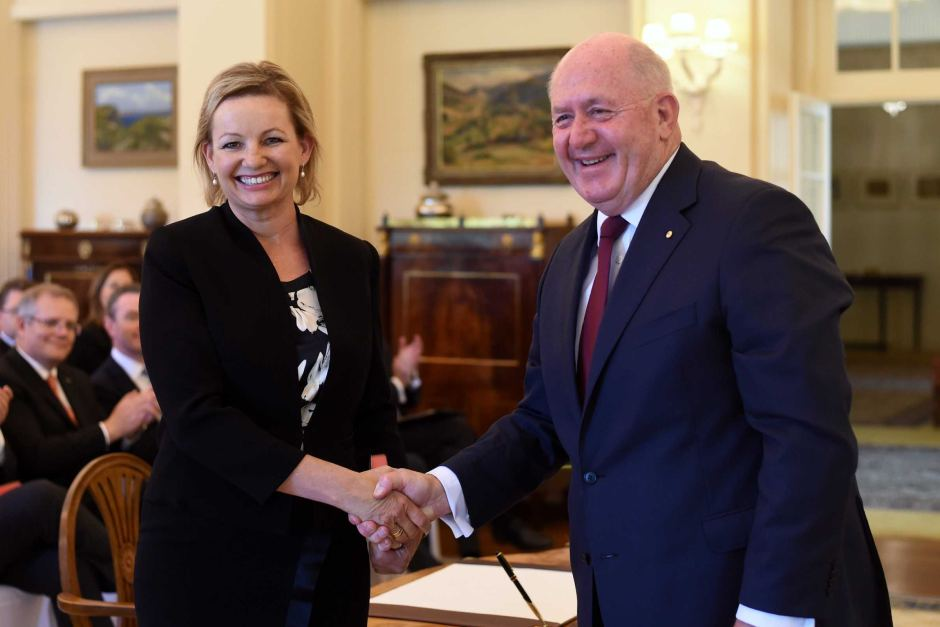 Sussan Ley shakes hands