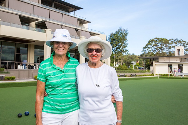 Aged care - two ladies lawn bowls