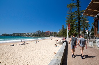 Manly beach two people walking