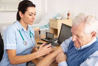 Older man receiving vaccination