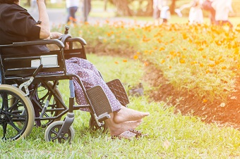 elderly person in pyjamas in their wheelchair