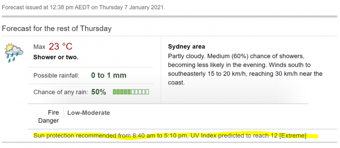 A screenshot of the weather forecast in Sydney, showing weather plus UV index and recommended sun protection times.